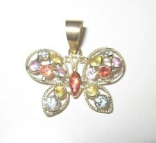 14KT Yellow Gold Padparadscha and Multi Color Sapphire, Dainty Butterfly Pendant