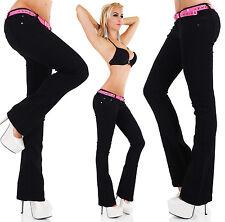 Women's Low Cut Bootcut Jeans Hipster Black Pants Inc Belt Size 6,8,10,12,14 HOT