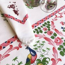 "BEAUVILLE, LES COQS (ROOSTERS), RED FRENCH SATIN COTTON TABLECLOTH, 55"" X 67"""