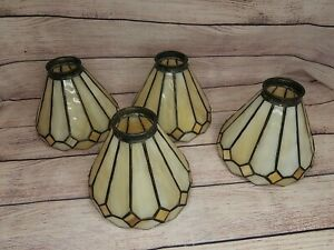 4 TIFFANY MISSION STYLE LEAD STAINED SLAG GLASS CEILING FAN VANITY LIGHT SHADES
