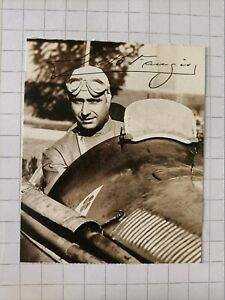 JUAN MANUEL FANGIO -  sticker 'I PILOTISSIMI' #12 - Agip (Italy) - 1994 - Signed