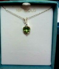 10K YELLOW GOLD GREEN HEART CHARM W/CHAIN