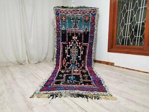 "Handmade Vintage Moroccan Carpet, 3'93"" x 11'5"" Feet,Berber Azilal Handmade Rug"