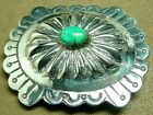 VINTAGE NAVAJO NATIVE AMERICAN STERLING SILVER FINE TURQUOISE CONCHO BELT BUCKLE