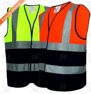 HI VIS VIZ VEST YELLOW ORANGE HIGH WORK SAFETY WAISTCOAT REFLECTIVE WORKWEAR NEW