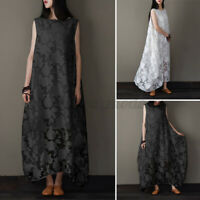 UK Women Summer Dress Evening Sleeveless Long Maxi Printed Casual Loose Sundress