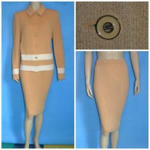 St. John Collection Knits Beige Jacket & Skirt L 12 14 2pc Suit Buttons