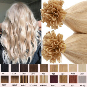 Russian Human Hair Extensions U Nail Tip Keratin Glue Weft Remy Pre Bonded BLOND