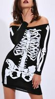 New Womens Ladies Zoe Halloween Skeleton Bodycon Dress Size 8-18 RRP 15.00