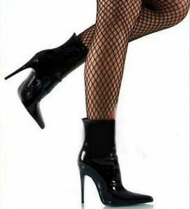 Ladies High Heel Patent Shiny Leather Pointy Toe Side Zip Nightclub Ankle Boots
