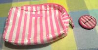 Victoria Secret Cosmetic Pink Striped Sequin Bag