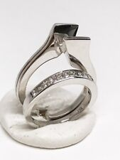 14K White Gold Semi Mount Diamond Engagement Ring Set, Dia 0.56 CT