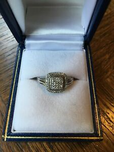 Pave Diamond Sterling Silver Ring, Square Halo- Affinity QVC, NWOT~ Size 8