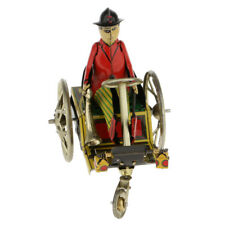 Old-fashioned Tin Wind-up Gentleman Riding Tricycle Clockwork Toy Collection