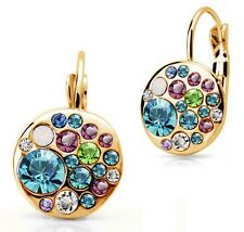Gold & Sterling Silver Plated Crystal Hoop Stud Earrings Pandora Fashion Jewelry