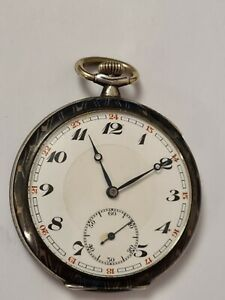 Herren Taschenuhr Niello/Tula Silber mit Top Qualität Werk 1920