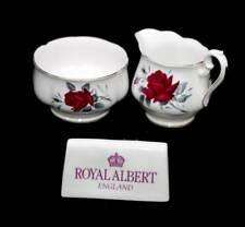 Vintage Royal Albert Sweet Romance red roses large sugar bowl & jug set