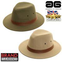 Fedora Hat 100% Cotton Trilby w/ PU Band Stylish Sun Hat by A&G Cream Olive
