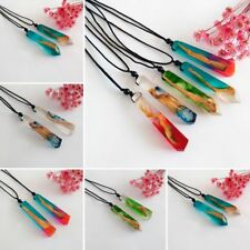 Women/Men Fashion Resin Wood Pendant Necklace Colored Rope Chain
