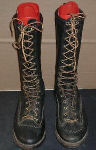 "vtg wesco studded logger boots 14"" tall sz. 9d w/ austin-abbott boot forms"