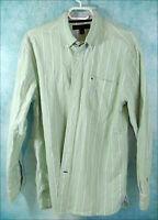 Vintage Tommy Hilfiger Green Stripped Cotton Dress Shirt Size Medium Mens