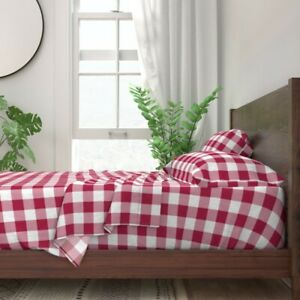 Red Check Buffalo Burgundy White Plaid 100% Cotton Sateen Sheet Set by Roostery