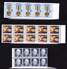 STAMPS/UNITED STATES: 3 Different  MINT BOOKLET PANES-Sc# 1393a, 2552a, & 2710a