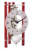 HERMLE Tischuhr Skelettuhr mit Pendel mechanisches 8 Tage -Aufzugswerk Rot