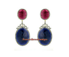 Cut Diamond Silver Ruby Sapphire Earrings 100% Real Natural 2.34ct Antique Rose