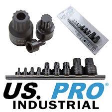 US PRO INDUSTRIAL 9pc 1/4-1/2 dr Stubby Impact Triple Square Spline Bit Sockets