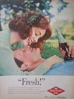 1960 Royal Crown RC Cola Pretty Woman Auburn Red Hair Red Lips w Man Original Ad
