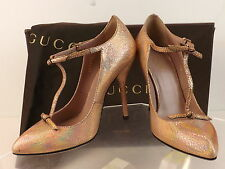 NIB GUCCI BEVERLY SALMON CRACKED LEATHER T-STRAP BOWS PUMPS 38 8 $695 #323494
