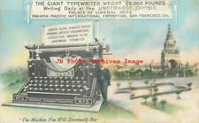 Pan Pacific Expo, PPIE, Underwood Exhibit, Giant Typewriter,Advertising Postcard