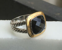 Cyber Monday Deals- Two Tone Sterling Silver Albion Ring with 11x11mm Black Onyx