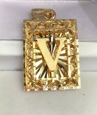 "18k Solid Yellow Gold Letter Initial ""V"" Rectangle Charm Pendant, 6.29 Grams"