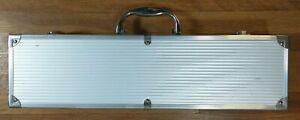 "Hard Aluminum Case Silver 17-3/4""x4-3/4""X3"" Single Handle Double Clasp"