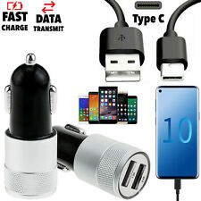Genuine Dual Port Fast Car Charger + Samsung Galaxy S9 S10 USB C Charging Cable
