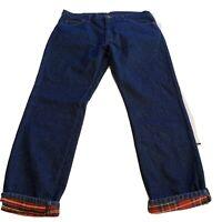 Vintage Eddie Bauer Mens Denim Jeans Plaid Flannel Lined Tag 42x32 Act 40 x 32