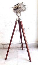 MARITME Floor/Standard Lamp With Wooden Tripod Nautical E27 SEARCHLIGHT STUDIO .