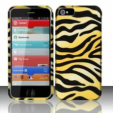 For iPhone 5 5S SE Rubberized HARD Protector Case Snap On Phone Cover Gold Zebra