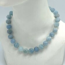 Blue Brazilian Aquamarine Knotted Necklace 10mm Beads Sterling Silver 925 Clasp