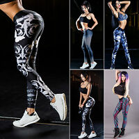 Womens Stretch Gym Fitness Leggings Sport Pants Trousers Floral Print Activewear