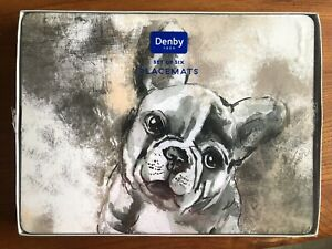 DENBY FRENCH BULL DOG DESIGN PLACEMATS SET OF SIX