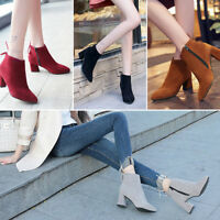 Womens Ladies Chunky Chelsea Block Low Heel Ankle Boots Velvet Casual Shoes HOT