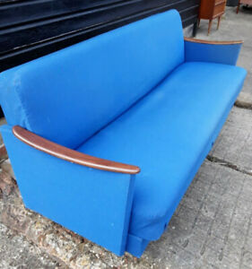 Vintage retro mid century Danish sofa day bed wood blue wool teak wood 3 seat