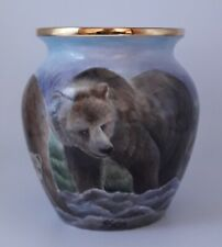 More details for freehand painted and designed brown bear vase by sandra selby inside and out.