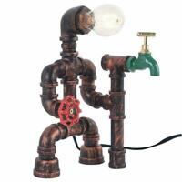 Industrial Reading Steampunk Robot Table Lamp with Switch Water Pipe Desk Light