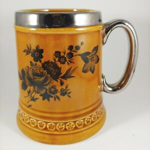 LORD NELSON Brown & Silver Floral Mug - vtg 16oz Rose Flower Ceramic Coffee Cup