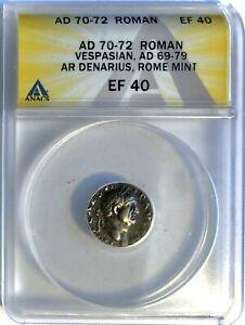 Vespasian (AD 70-72) AR Silver Denarius, Religious Implements - ANACS XF-40