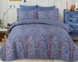 3 Piece Printed Natural Quilted Bedspread Throw & Pillowcases Double King Size
